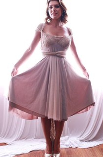 Strapped Chiffon&Lace Dress With Tiers