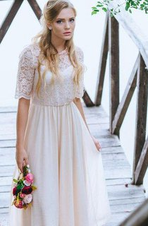 Boho Blush Ankle Length A-Line Chiffon Wedding Dress With Lace Bodice