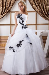 Strapless Ruffled Ball Gown with Appliques and Pleats