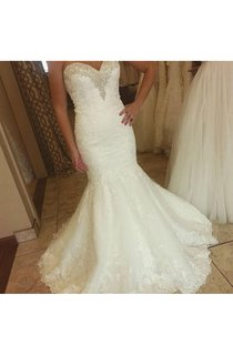 Stunning Beaded Sweetheart Mermaid Lace Gown With Pleats
