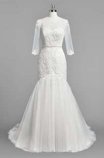 Scoop Neck 3 4 Sleeve Mermaid Lace and Tulle Wedding Dress With Beading