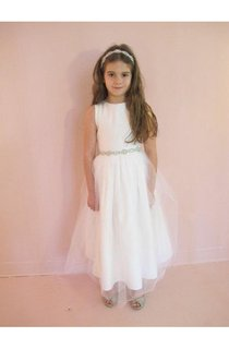 Simple Sleeveless Jewel Neck Beaded Waistline A-line Tulle Dress With Pleated and Zipper Back
