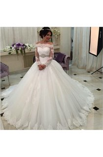 Off-the-shoulder Long Sleeve Pleated Tulle Ball Gown With Beaded Waist Belt