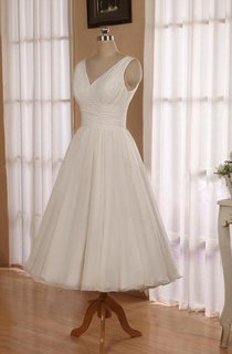 V-Neck Sleeveless Tea-Length Chiffon Wedding Dress With Beading And Low-V Back