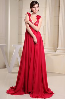 Plunged Chiffon Maxi Dress with Beading and Ruffled Straps