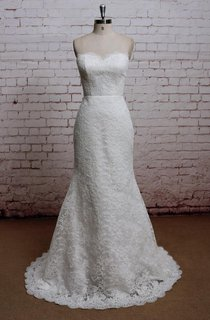 Sweetheart Long Lace Fit and Flare Wedding Dress