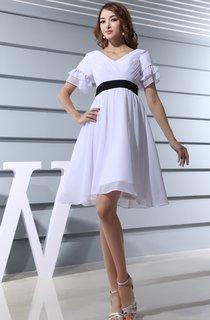 V-Neck Short-Sleeve Chiffon Dress With Criss-Cross Ruching