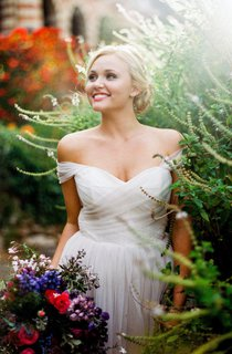 A-line Off-the-shoulder Tulle Wedding Dress With Criss-cross Ruching