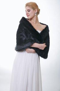 Timeless All Black Faux Fur Bridal Wrap