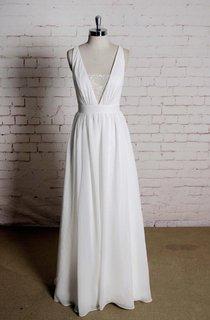 Sexy V-Neck Sleeveless A-Line Chiffon Wedding Dress With Simple Strap Back