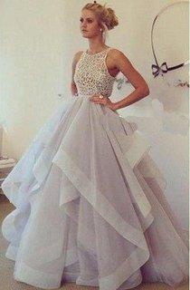 Floor-length Sleeveless Chiffon Lace Bodice Dress