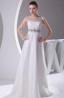 Chiffon Sleeveless Floor-Length Dress With Beaded Waist
