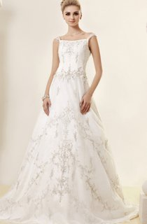 Noble Embroidered A-Line Gown With Beading and Low-V Back