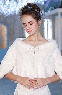 Bridal Winter Print Long-sleeved Shawl with Rhinestone