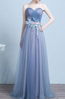 Blue Vintage Tulle Lace-up Dress with Flower