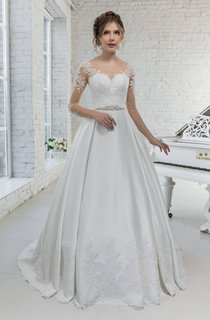 Scoop-Neck Illusion Long Sleeve A-Line Satin Wedding Dress With Appliques And Beading