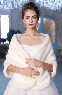 Winter Bridal Wedding Shawl Thick White Warm Fur Double-Sided Wool Shawl