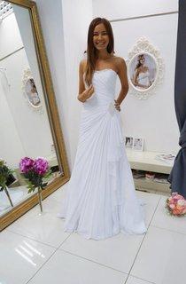 Sheath Chiffon Floor-Length Dress With Beading And Side Draping