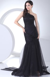 One-Shoulder Sleeveless Mermaid Dress With Ruching and Ruffles