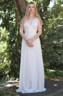 Plunged Sleeveless Chiffon Wedding Dress With Deep-V Back And Ribbon
