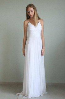 Floor-Length Spaghetti Straps Tulle Lace Wedding Dress