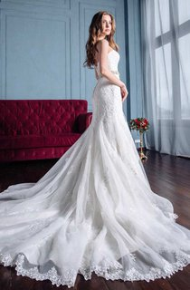 Mermaid Trumpet Satin Lace Wedding Dress