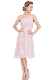 One-shoulder Knee-length Chiffon Dress With Pleats