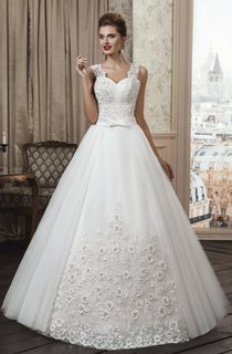 A-Line Ball Gown Strapped Weddig Dress
