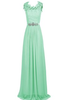 Scalloped Crystal-beaded A-line Gown With Lace Appliqued Bodice