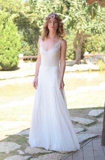 Plunged Sleeveless Chiffon Wedding Dress With Lace And Deep-V Back