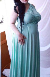 Chesapeake Mint Silky Satin Jersey Octopus Convertible Infinity Wrap Long Maternity Dress