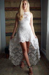 Open Back Lace Wedding Hi Low Wedding Short Wedding French Lace Olivia Dress
