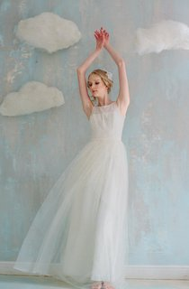 A-Line Floor-Length Tulle Lace Weddig Dress With Tiers