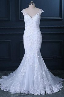 Mermaid Cap Tulle Dress With Appliques And Illusion Back