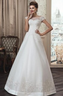 A-Line Strapped Tulle Lace Weddig Dress With Illusion