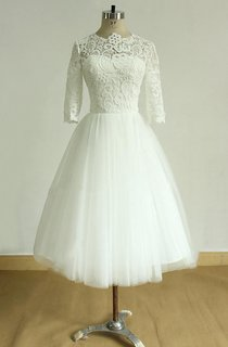 Vintage Tea Length Ivory Tulle Lace Wedding With Mid Sleeves Dress