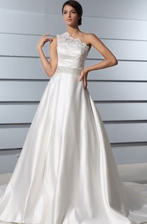 A-Line Asymmetrical One-Shoulder Dress With Bodice And Chapel Train