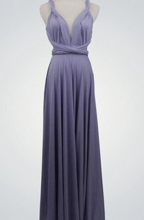 Straped Open Back Long Jersey Bridesmaid Dress