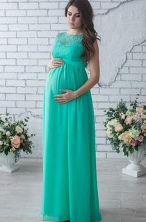 Sleeveless Sleeve Chiffon&Lace Maternity Dress