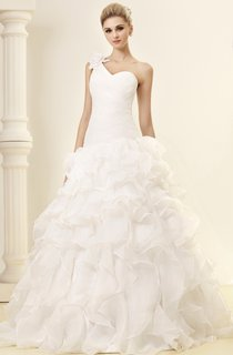 One-Shoulder Criss-Cross A-Line Gown With Ruffles