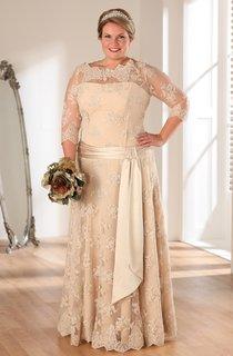 A-Line Long Bateau Neck 3-4-Sleeve Lace Illusion Sash Dress