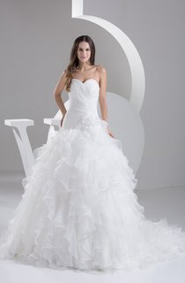Sweetheart Criss-Cross Ruffled Ball Gown with Flower