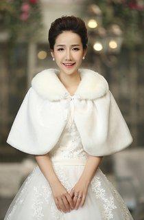Bridal Wedding Shawl White Red Warm Winter Cloak
