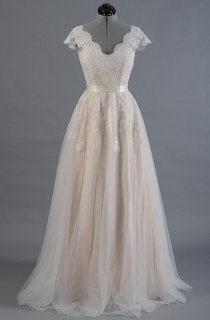 Cap Sleeve V-Neck Lace Wedding Dress With Tulle Skirt and V-Back