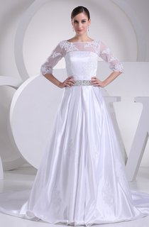 Long A-Line 3-4-Length Satin Sleeve Dress with Lace Illusion and Beading Belt