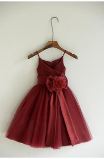 Spaghetti Strap V-neck Ruched Tulle Dresses With Sash Bow Flower