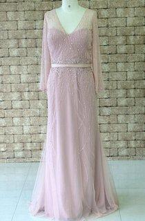V-neck Chiffon&Tulle Dress With Beading
