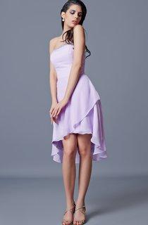 Strapless Backless Draped A-line Short Chiffon Dress