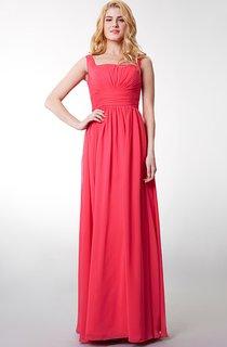 Squared Neckline Waist Gathered Chiffon Long Dress With Bandage