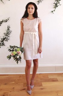 Scoop-Neck Cap-Sleeve Short Dress With Bow And Appliques